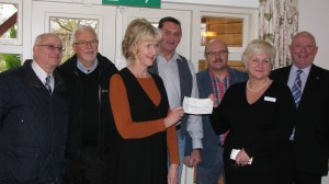 Chris Gold, Mike Smail, Paul Pueschel Mark Taylor, Ron Barnett pictured with Moira Logie and Daphne Robertson, heads of Fundraising for The Katharine House Hospice.